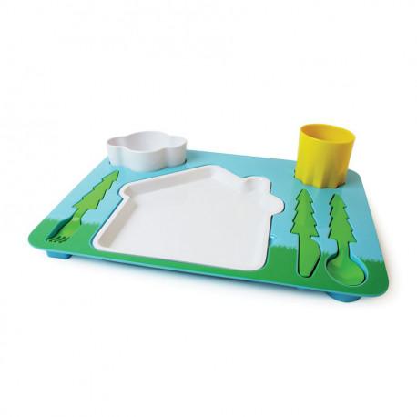 un plateau pour enfants comprenant tous les accessoires pour un repas ludique et coloré