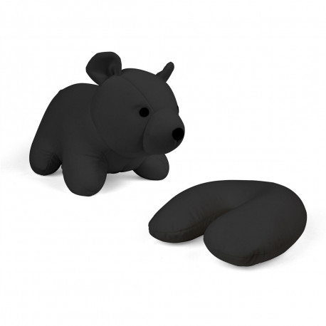 une peluche en forme d'ourson qui se transforme en coussin repose-tête ultra moelleux
