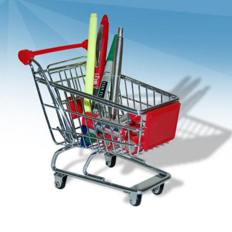 ce mini caddie de supermarché organise et range vos accessoires et autres fournitures de bureau