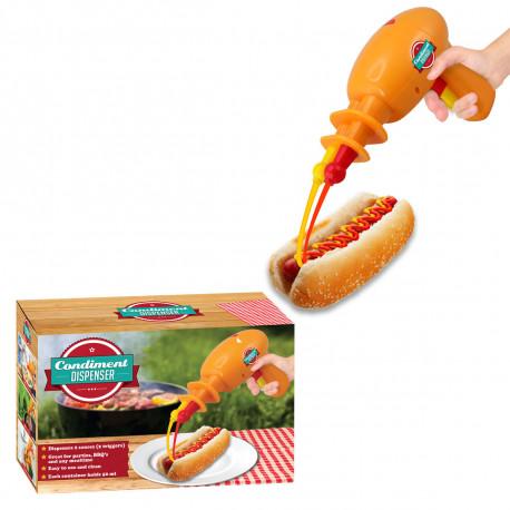 Haut les pains ou je tire avec mon pistolet à condiments ! Vos hot-dogs et autres sandwichs seront assaisonnés avec fun à l'aide de ce pistolet à sauce insolite double sortie... Un gadget cuisine pour toute la famille !