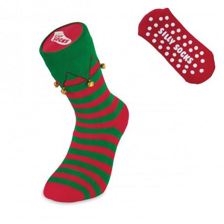 Gardez vos petons au chaud avec originalité en portant ces chaussettes lutins antidérapantes avec grelots !