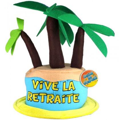 Ce chapeau retraite coloré représente un maxi gâteau avec des palmiers... pour donner un air de véritable vacancier au futur retraité ! Voilà un chouette cadeau insolite pour un départ à la retraite !