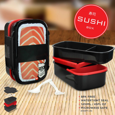 Adoptez cette Lunch Box pour y ranger votre repas de midi… Au look insolite d'un méga sushi, elle est une super idée cadeau pour ceux qui mangent à leur boulot par exemple ! Cinq emplacements et deux couverts font de cette Bento Box un produit totalement indispensable !
