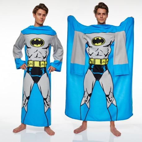 offrez un cadeau geek et confortable sous licence officielle dc comics : une couverture polaire à manches batman