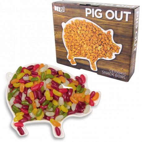 plat apéritif en céramique prenant l'allure d'un mignon petit cochon