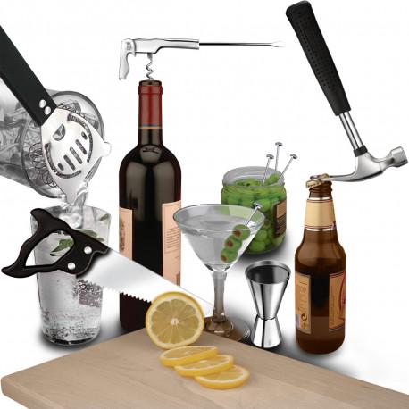 Offrez ce set à cocktails façon caisse à outils de bricolage à tous ceux qui aiment créer leurs propres apéritifs… Insolite, original et utile, ce cadeau apéro renferme de nombreux outils à cocktails !