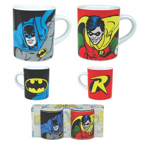 Voilà le cadeau idéal à offrir à un couple geek inconditionnel du super-héros Batman… Ces deux mini mugs mettant à l'honneur Batman et Robin seront absolument parfaits pour toutes vos pauses-café !