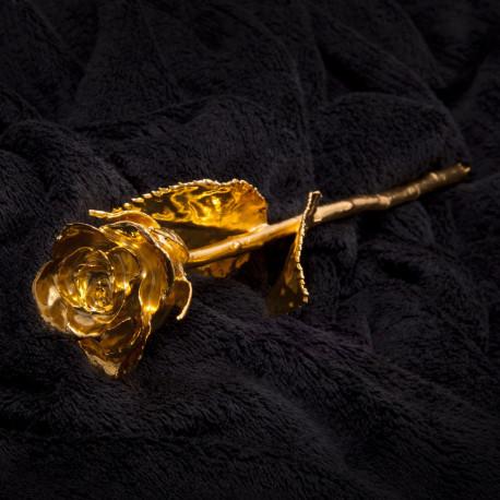 Comblez votre amour avec cette rose véritable cueillie à la main et dorée à l'or fin 24 carats