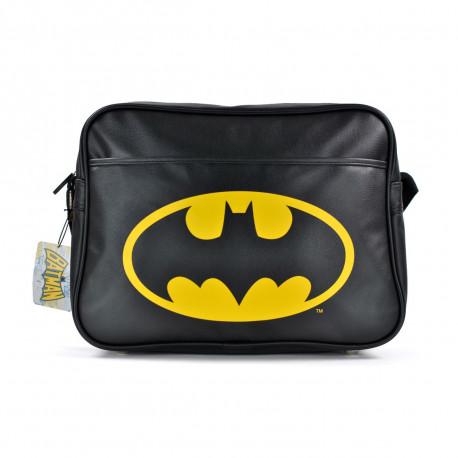Sacoche à bandoulière noir et jaune avec le logo de Batman