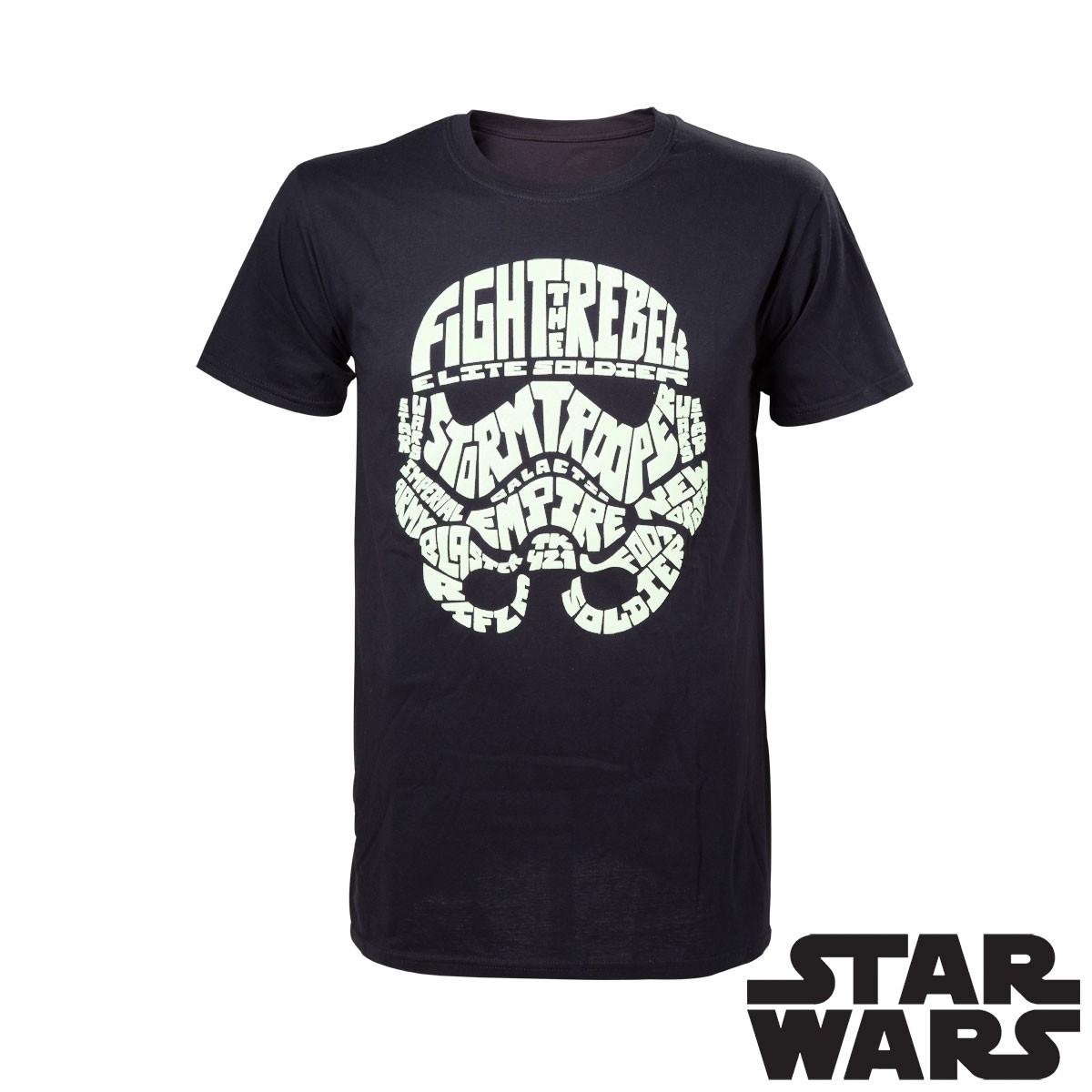 t shirt star wars avec casque de stormtrooper phosphorescent sur rapid cadeau. Black Bedroom Furniture Sets. Home Design Ideas