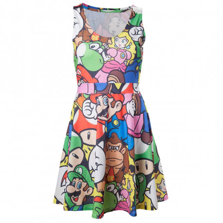 Une robe représentant les personnages super mario bros