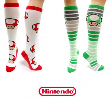 Cette paire de chaussettes montantes met à l'honneur les mushroom Toad, tout droit sortis du jeu vidéo Super Mario Bros
