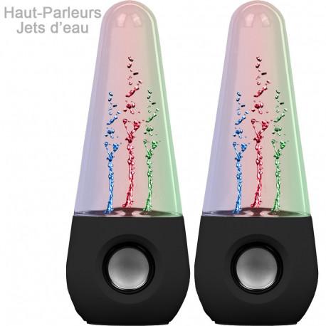 Deux enceintes design avec des jets d'eau multicolores