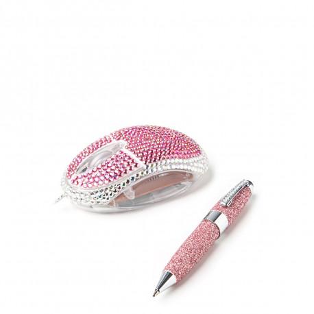 Une souris filaire et un stylo/stylet assorti : voilà ce qui compose ce lot bling-bling d'accessoires de bureau