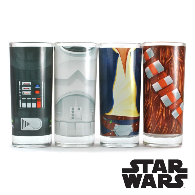 vaisselle star wars 4 verres cuisine avec torses personnages sur rapid cadeau. Black Bedroom Furniture Sets. Home Design Ideas