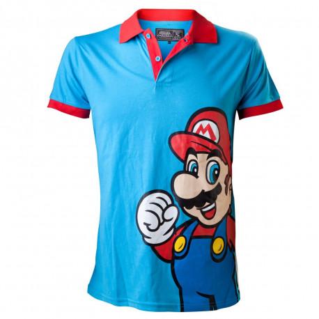Bienvenue au Royaume Champignon avec ce polo manches courtes à l'effigie de Super Mario Bros