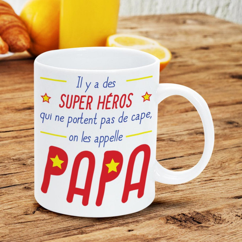 mug f te des p res cadeau original pour papa super h ros sur rapid cadeau. Black Bedroom Furniture Sets. Home Design Ideas