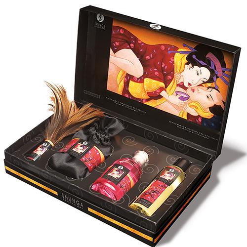 Partagez un moment sensuel et romantique à deux avec ce coffret Shunga japonais à la senteur « fraises et champagne